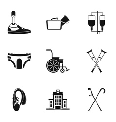 Disabled icons set simple style vector image
