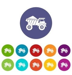 Dump truck with sand set icons vector image