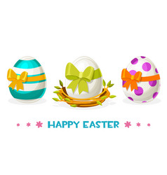 easter eggs with different patterns in nest vector image