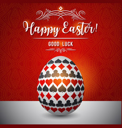 Easter greetings card with red and black gambling vector