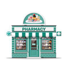 facade pharmacy or drugstore with signboard vector image