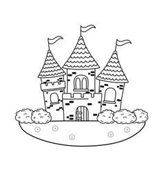 fairytale castle in the landscape scene vector image