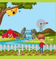 Farmer at the rural farm landscape vector