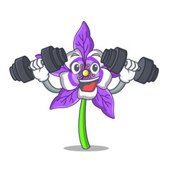 Fitness columbine flower character cartoon vector