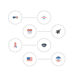 Flat icons awareness hat american banner and vector
