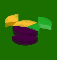 Flat shading style icon pie chart vector
