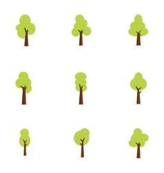 Flat trees set art vector