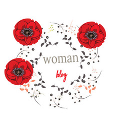 Flower frame as avatar for woman blog hand drawn vector