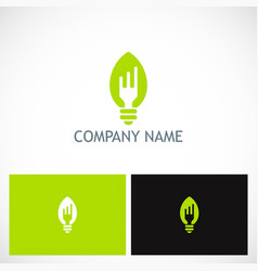 Fork light bulb food company logo vector