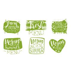 fresh vegan summer menu green hand drawn badges vector image