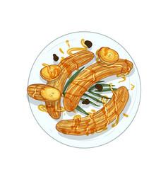 fried bananas hand drawn vector image