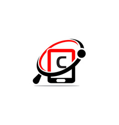 Hand phone search initial clogo template icon vector