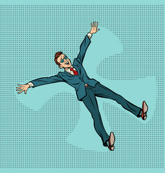 happy businessman making snow angel vector image