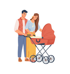 happy parents walking newborn bawith stroller vector image