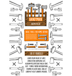Home repair tool banner with toolbox vector