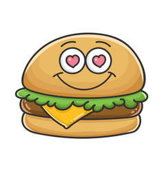 In love cheese burger cartoon vector