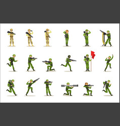 Infantry soldiers in full military khaki uniform vector