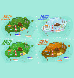 Jeju island travel map welcome to in spring vector