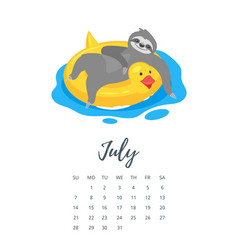 July 2019 year calendar page vector
