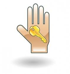 Key in hand illustration vector