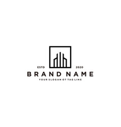 Letter w and building logo design vector