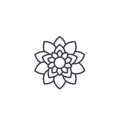 lotus flower line icon concept lotus flower flat vector image