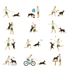 Man Dog Training Playing Pet Stick vector image