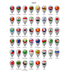 Map marker set with flags asia vector