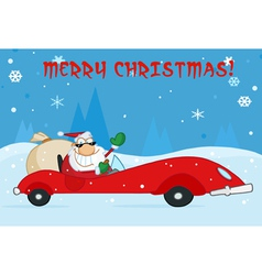 Merry Christmas Greeting With Santa vector