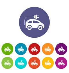 Modern electric car icons set color vector