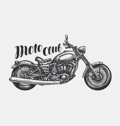 motorcycle sketch hand-drawn vintage motorbike vector image