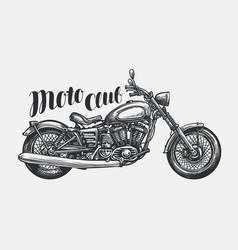 Motorcycle sketch hand-drawn vintage motorbike vector