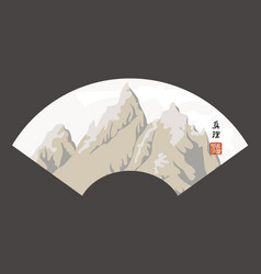 Mountain landscape in china style with hieroglyph vector