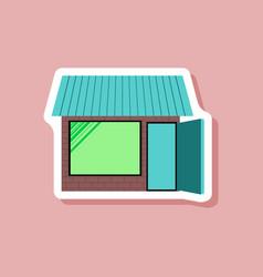 Paper sticker on stylish background shop vector