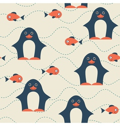 Penguin seamless pattern vector