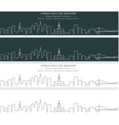 philadelphia single line skyline banner vector image