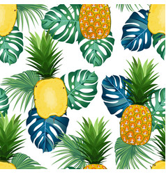 Pineapple seamless pattern whole and in vector