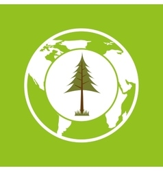 Planet earth ecology pine tree icon vector