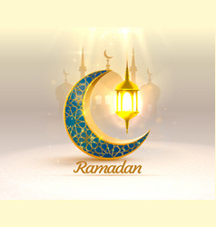 Ramadan cover card drawn mosque night view from vector