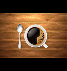 Realistic cup coffee spoon wooden texture vector