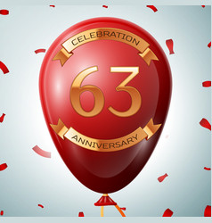 Red balloon with golden inscription 63 years vector