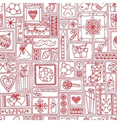 Red seamless Christmas and New Year pattern vector image