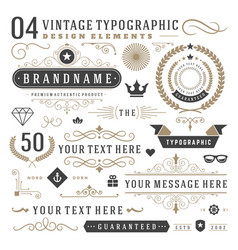 Retro vintage typographic design elements vector