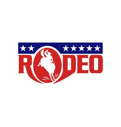 Rodeo cowboy riding a bucking bronco vector image