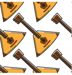 Russian balalaika musical instrument seamless vector