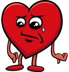 sad heart cartoon character vector image