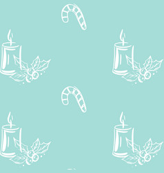 seamless christmas pattern with candles candy vector image