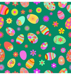seamless pattern flowers and easter eggs vector image
