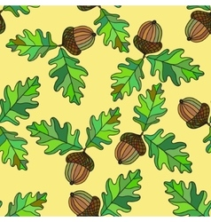 Seamless pattern with acorns and leafs vector image