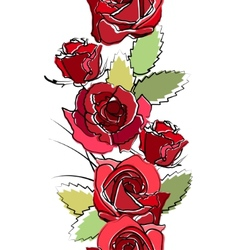 seamless vertical border with red roses vector image